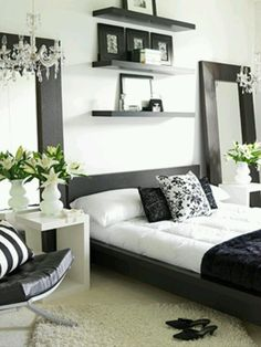 Black, White and Grey bedroom I love this combo because you can change it with adding different pops of color throughout the year and seasons!