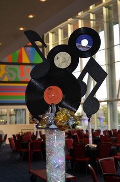 Check out this music mobile! Perfect for the rockstar classroom theme! {broken link, just a picture}
