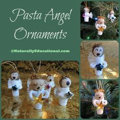 Angel Christmas ornaments made of pasta--a fun holiday craft for older kids!