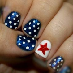 Patriotic manicure with red, white, and blue!