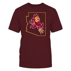 SPARKY IN STATE OUTLINE - ARIZONA STATE SUN DEVILS T Shirt