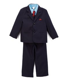 Take a look at this Navy & Red Five-Piece Suit Set - Infant, Toddler & Boys today!