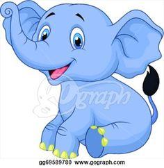 Vector Art - Cute baby elephant cartoon sitting. Clipart Drawing ... Baby Elephant Nursery, Cute Baby Elephant, Elephant Baby Showers, Elephant Artwork, Elephant Poster, Elephant Cartoon Images, Baby Drawing, Zoo Animals, Cartoon Drawings