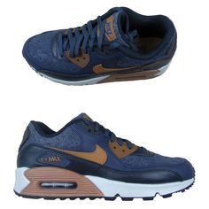 sports shoes de945 0d7a1 Nike Air Max 90 Premium Size 10 Mens Running Shoes Thunder Blue Brown  700155 404  Nike  RunningShoes