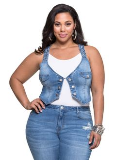 aabc73a06541 Braided Cropped Denim Vest-Plus Size Jeans-Ashley