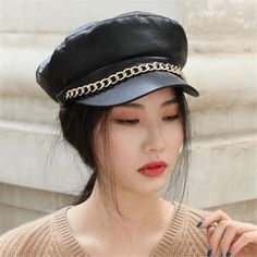 Baker Boy Cap, Plain Black, Winter Wear, Sailor, Captain Hat, Greek, Womens Fashion, Fashion Trends, Chain