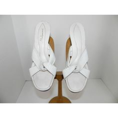 Cute vintage 50s 60s White Leather Mules Sandals with Kittenish heels... ($35) ❤ liked on Polyvore