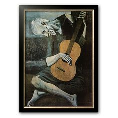 Art.com The Old Guitarist, c.1903 Framed Art Print by Pablo Picasso, Black