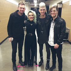 """""""Backstage in Nashville this past Sunday right before we all brawled about hair. """" from Veridia's instagram, Seth from Skillet, Colton Dixon, and Veridia in one Picture :)"""