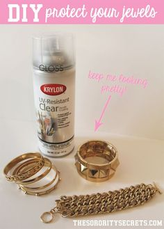 Clear gloss spray on costume (read: fake) jewelry - did this with Mom at home, works really well on most things