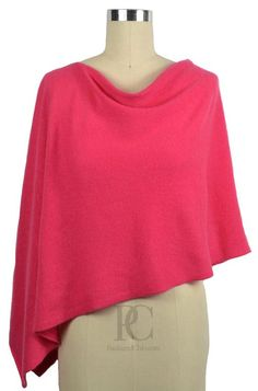 100% Cashmere Poncho Dress Topper. Wear it 4 ways. 50+ Color choices. Color - Hibiscus Pink.