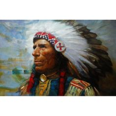 Handmade Reproduction Western of Sioux Red Indian Oil Painting for sale on overArts.com