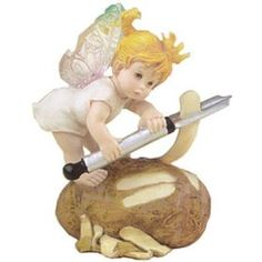 This adorable eye-catching little fairy is the Potato Peeler Fairy, one of many different fairies all incredibly cute and cuddly.