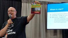 "Learning to Code in Python in Minecraft w/ @birv2 at #Minefaire. 1st Program, ""Hello MC World"" #MinecraftEDU @minefaire #csforall"