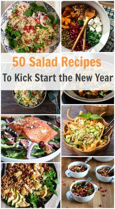 50 Salad Recipes to Kick Start The New Year - This post is going to give you a delicious list of gluten free, low carb, vegan and vegetarian salad recipes to help you start 2015 off right with healthy options!!! primaverakitchen.com