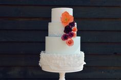 Fun four tier bright modern wedding cake with white frills/ruffles, various sugar lace, water color paint and bright sugar flowers! Sugar Lace, Cake Shop, Sugar Flowers, Custom Cakes, Paint Colors, Wedding Cakes, Cookies, Ruffles, Desserts