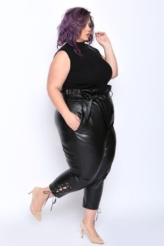 658a8083d87 Anne Leather Paperbag Pants with Pockets - Astra Signature