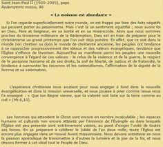 Commentaire du 05/12/15 - Saint Jean-Paul II (1920-2005), pape Redemptoris missio, 86 « La moisson est abondante »