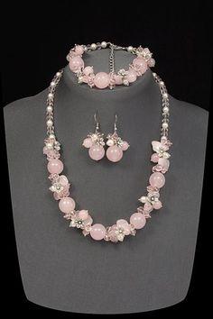 Очаровательный комплект из розового кварца и жемчуга майорка