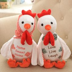 30CM Cute Creative Soft Chicken Toys PP Cotton Stuffed Pastoral Couple Chickens Plush Hen Doll With Plaid Apron Rooster 2 Color