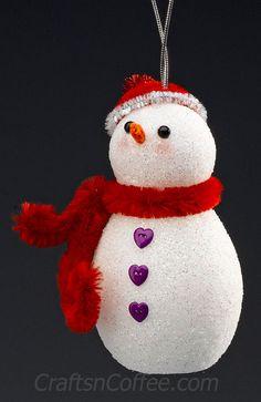 A snowman craft for the kids – DIY a Glittering Snowman Ornament