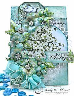 Aqua Flowering Dogwood Easter Card Tutorial by Kathy Clement for Heartfelt Creations Alumni Hop Photo 1