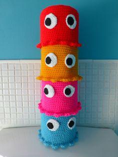 Handmade crochet pacman toilet roll cover red door QuirkyPurple, £8.00