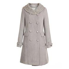 Turndown Collar Elegant Double-Breasted Woolen Fabric Women's Long Coat, GRAY, ONE SIZE in Jackets & Coats | DressLily.com