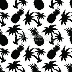 Clipart vectoriel : Seamless pattern with silhouettes coconut palm trees and…