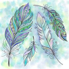 Feather Tattoos, Body Art Tattoos, Dream Catcher Drawing, Crayons Pastel, Watercolor Birthday Cards, Feather Drawing, Feather Cards, African Art Paintings, American Graffiti