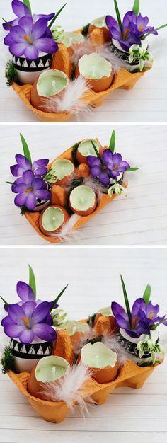DIY Tischdeko für Ostern basteln - schöne DIY Deko Idee. Einfach zu basteln, wirklich günstig und trotzdem ein toller Hingucker in der Wohnung. Die Eier werden teilweise zu Kerzen, teilweise zu Vasen. Schöne Upcycling Idee!