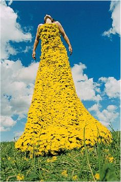 Inspired by nature - a dress made from dandelions provides a spectacular splash of natural colour.