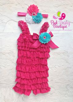 Hot Pink petti lace romper and headband 3 pc SET, Baby girl 1st birthday outfit, Newborn Outfit, Coming home, Baby romper, Cake Smash Outfit on Etsy, $34.99