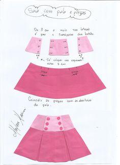 saia-com-pala-e-prega-fêmea. Baby Girl Dress Patterns, Doll Clothes Patterns, Sewing Clothes, Barbie Clothes, Clothing Patterns, Kids Frocks, Frocks For Girls, Skirts For Kids, Sewing For Kids