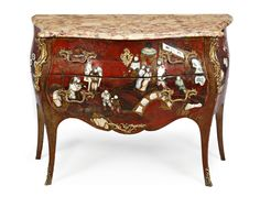 "French Louis XV-style chest of drawers with ""chinoiseries"" in lacquered wood, with painted bone and gilt-bronze applications, first half of the 20th Century 
