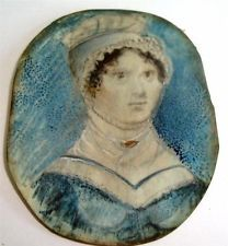18thC HAND PAINTED MINIATURE PORTRAIT LADY NAIVE Miniature Portraits, Antique Paint, Tiny Treasures, Early American, Naive, Colonial, Folk Art, Miniatures, Hand Painted