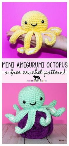crochet amigurumi patterns Finding Joy in the Journey with Motherhood, Crocheting, Crafting, and Cooking. - This mini crochet octopus is such a sweet little thing! Just a couple of inches tall but with so much personality, and of course those Bag Crochet, Cute Crochet, Crochet Crafts, Crochet Dolls, Crochet Edgings, Quick Crochet, Crochet Food, Knitted Dolls, Crochet Motif