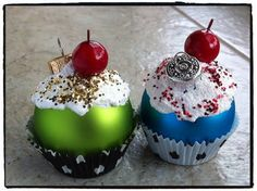 - OCCASIONS AND HOLIDAYS - I made these cute little cupcake ornaments this weekend.Glass or plastic Christmas balls (I used some mini glass ones with mini cupcake liners for min Diy Xmas Ornaments, Family Christmas Ornaments, Christmas Cupcakes, Noel Christmas, Christmas Crafts For Kids, Homemade Christmas, Christmas Projects, Holiday Crafts, Christmas Decorations
