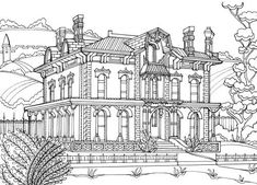 Check out this elegant Country Mansion and get the coloring started! FREE printable coloring page from Victorian coloring book. Printable Adult Coloring Pages, Free Coloring Pages, Coloring Sheets, Coloring Books, House Colouring Pages, Ancient Buildings, Free Printable, Stitches, Victorian House