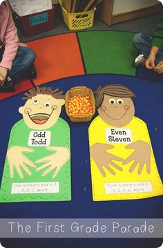 """Odd Todd and Even Steven"" is a cute idea for an odd and even math activity."