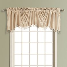 Curtain & Bath Outlet - Anna Lined Faux Silk Taupe Austrian Curtain Valance