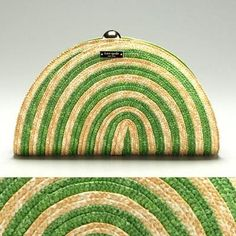 Kate Spade Lawn Party Leaf Green & Brown Woven Straw Half Moon Clutch Bag