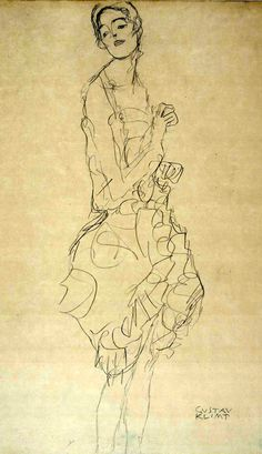 Gustav Klimt Figure Drawing, Line Drawing, Drawing Sketches, Painting & Drawing, Art Drawings, Picasso, Illustrations, Illustration Art, Figurative Kunst