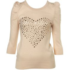 Knitted Heart Stud Top ($30) ❤ liked on Polyvore featuring tops, shirts, women, puff sleeve top, puffy sleeve shirt, studded top, puffed sleeve shirt and heart shirt