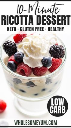 Low Carb Keto Berry Ricotta Dessert Recipe - Learn how to make low carb ricotta dessert (keto berry dessert) in just 10 minutes. This easy keto ricotta dessert will become one of your new favorite ricotta cheese dessert recipes - no sugar needed! Ricotta Recipes Healthy, Ricotta Cheese Desserts, Dessert Ricotta, Desserts Keto, Keto Friendly Desserts, Dessert Recipes, Easter Desserts, Plated Desserts, Delicious Desserts