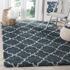 Shop for Safavieh Hudson Slate Blue/ Ivory Shag Rug (8' x 10'). Get free shipping at Overstock.com - Your Online Home Decor Outlet Store! Get 5% in rewards with Club O!