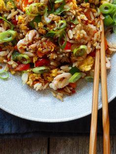 Stekt ris med reker - Mat På Bordet Fried Rice, Ethnic Recipes, Food, Meals, Stir Fry Rice