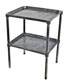 Vintage Industrial Two Tier Stainless Steel Commercial