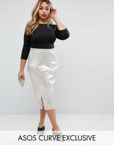 ASOS CURVE Shimmer Plisse Pleated Midi Skirt