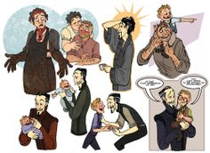 Ramkin-Vimes family portraits, plus Vetinari, because he and Young Sam are totally bros.  Discworld fan art by Mikaela Buckley.